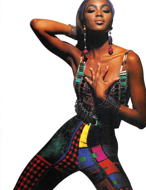 Naomi Campbell in Gianni Versace, Elle 1991