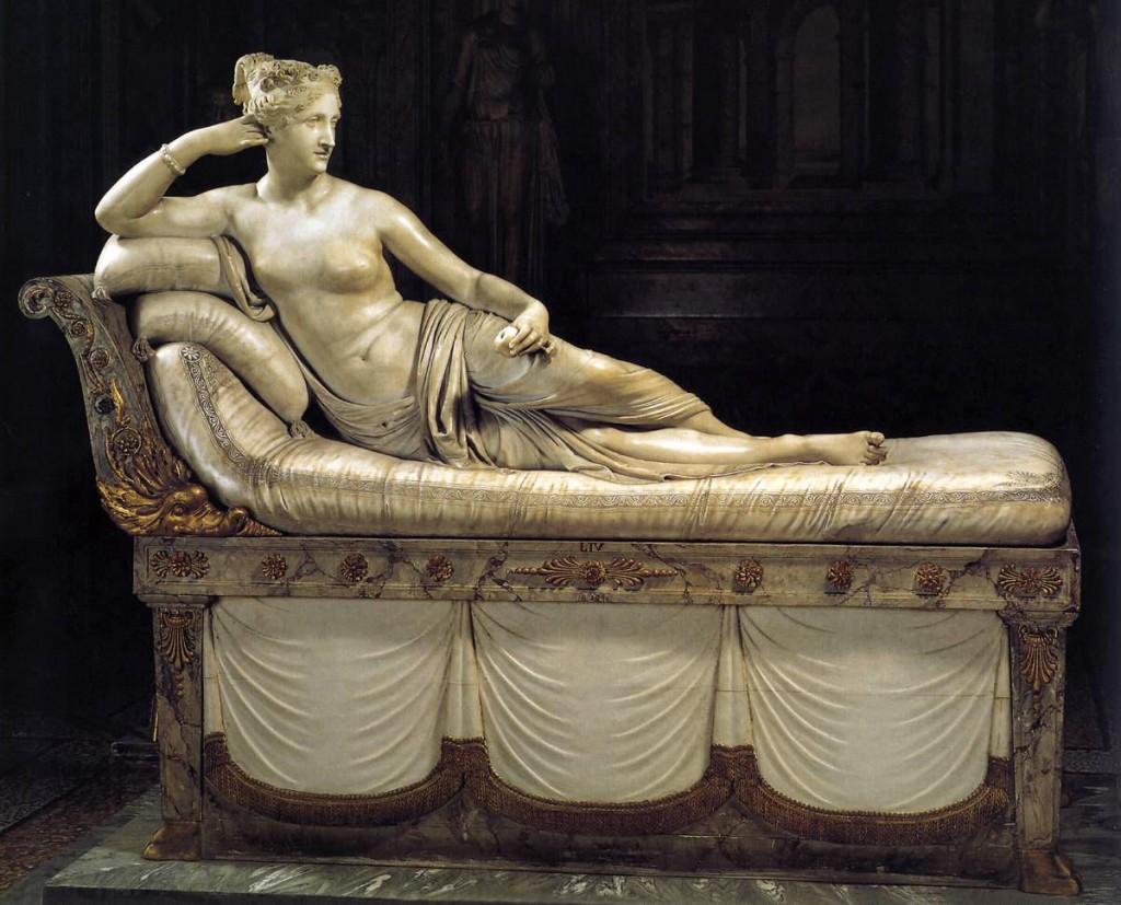 Paolina Bonaparte nella incarnazione della Venere Vincitrice è una scultura neo-classica di nudo femminile a grandezza naturale di Antonio Canova, 1805 circa, Galleria Borghse, Roma